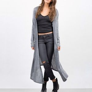 Heathered gray open front long cardigan sweater